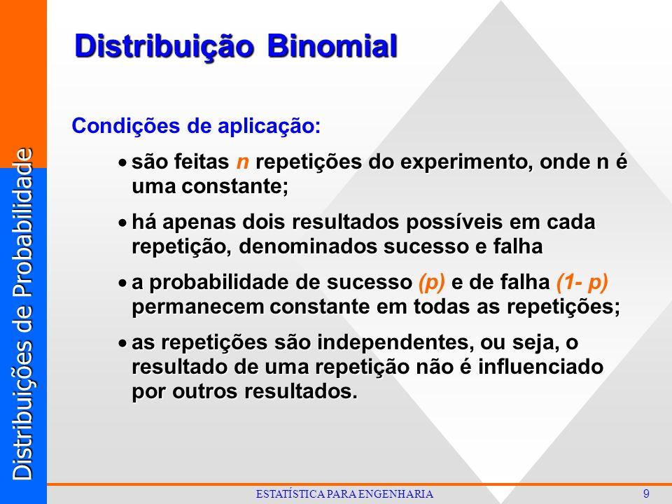 Distribuições de Probabilidade 9 ESTATÍSTICA PARA ENGENHARIA Distribuição Binomial Condições de aplicação:  são feitas repetições do experimento, onde n é uma constante;  são feitas n repetições do experimento, onde n é uma constante;  há apenas dois resultados possíveis em cada repetição, denominados sucesso e falha  a probabilidade de sucesso e de falha permanecem constante em todas as repetições;  a probabilidade de sucesso (p) e de falha (1- p) permanecem constante em todas as repetições;  as repetições são independentes, ou seja, o resultado de uma repetição não é influenciado por outros resultados.