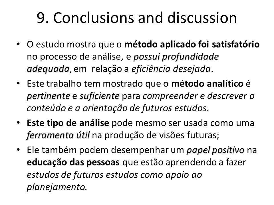 9. Conclusions and discussion possui profundidade adequada O estudo mostra que o método aplicado foi satisfatório no processo de análise, e possui pro