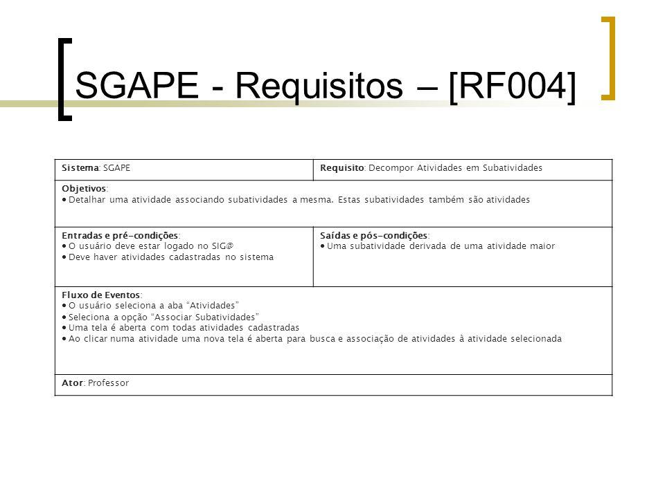 SGAPE - Requisitos – [RF004] Sistema: SGAPERequisito: Decompor Atividades em Subatividades Objetivos:  Detalhar uma atividade associando subatividades a mesma.
