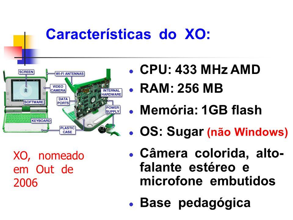 Características do XO: l CPU: 433 MHz AMD XO, nomeado em Out de 2006 l RAM: 256 MB l Memória: 1GB flash l OS: Sugar (não Windows) l Câmera colorida, a