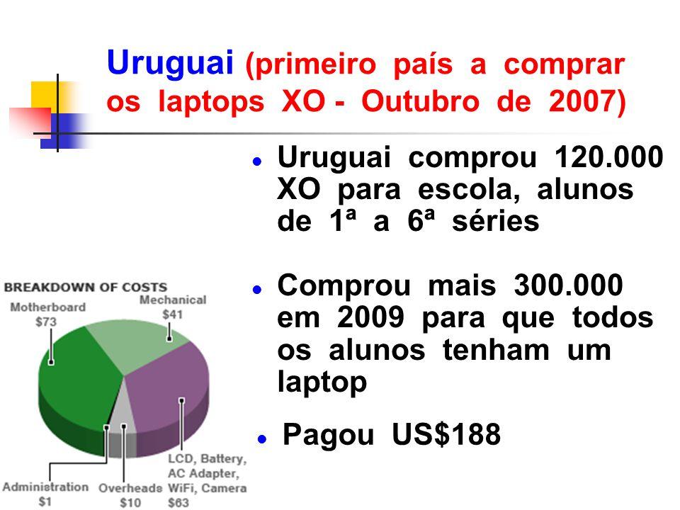 Uruguai (primeiro país a comprar os laptops XO - Outubro de 2007) l Uruguai comprou 120.000 XO para escola, alunos de 1ª a 6ª séries l Comprou mais 30