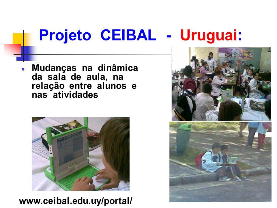 Projeto CEIBAL - Uruguai: l Mudanças na dinâmica da sala de aula, na relação entre alunos e nas atividades www.ceibal.edu.uy/portal/