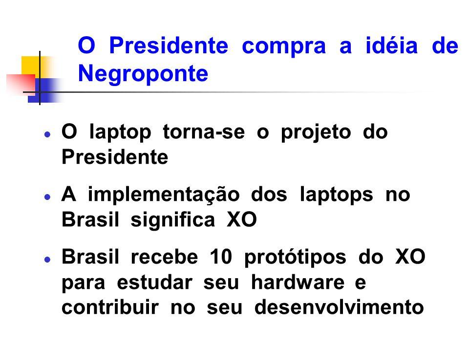 O Presidente compra a idéia de Negroponte l O laptop torna-se o projeto do Presidente l A implementação dos laptops no Brasil significa XO l Brasil re