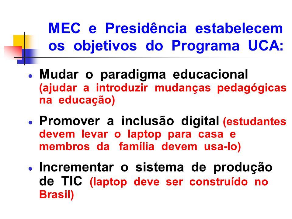MEC e Presidência estabelecem os objetivos do Programa UCA: l Mudar o paradigma educacional (ajudar a introduzir mudanças pedagógicas na educação) l P