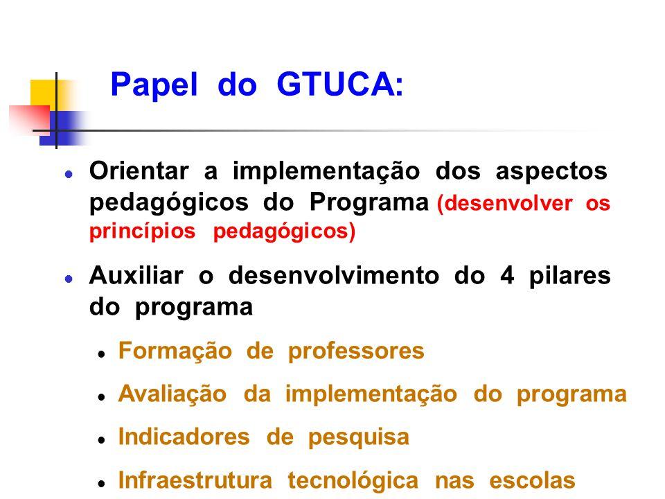 Papel do GTUCA: l Orientar a implementação dos aspectos pedagógicos do Programa (desenvolver os princípios pedagógicos) l Auxiliar o desenvolvimento d