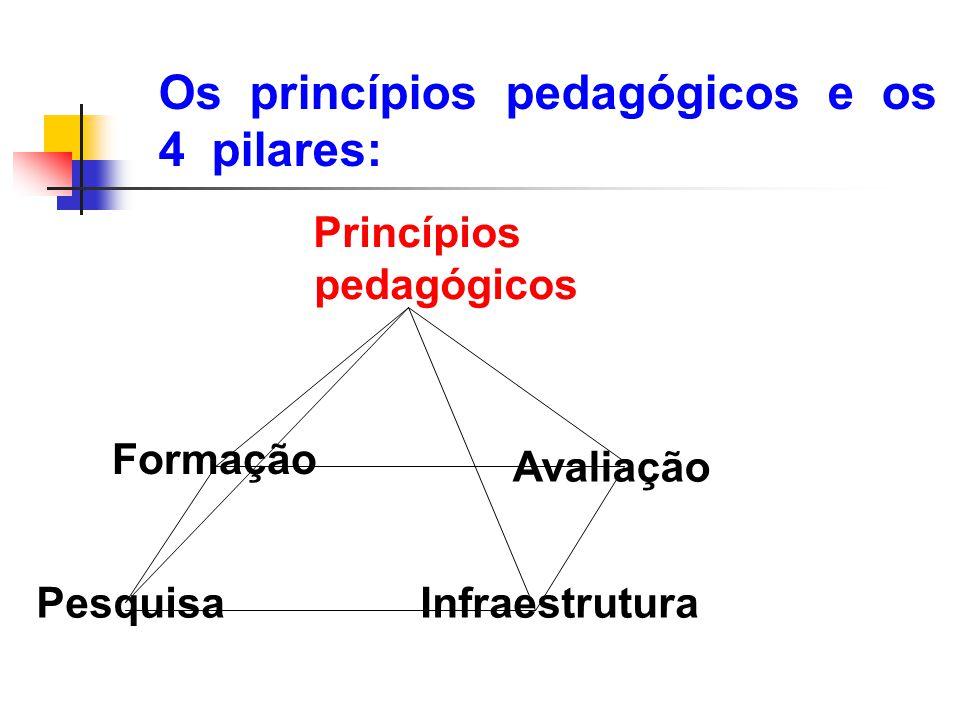 Os princípios pedagógicos e os 4 pilares: Formação Princípios pedagógicos Pesquisa Infraestrutura Avaliação