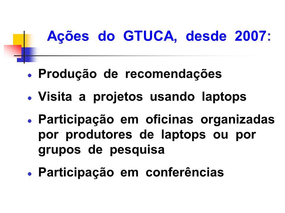 Ações do GTUCA, desde 2007: l Produção de recomendações l Visita a projetos usando laptops l Participação em oficinas organizadas por produtores de la