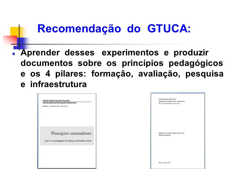Recomendação do GTUCA: l Aprender desses experimentos e produzir documentos sobre os princípios pedagógicos e os 4 pilares: formação, avaliação, pesqu