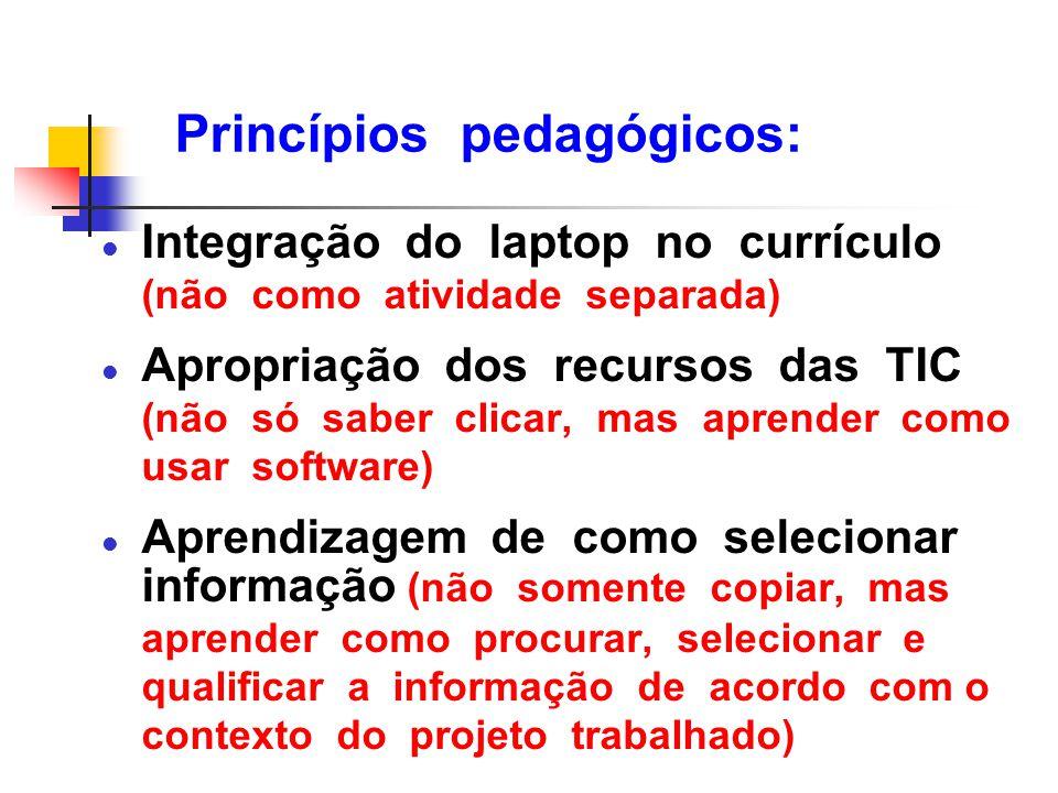 Princípios pedagógicos: l Integração do laptop no currículo (não como atividade separada) l Apropriação dos recursos das TIC (não só saber clicar, mas