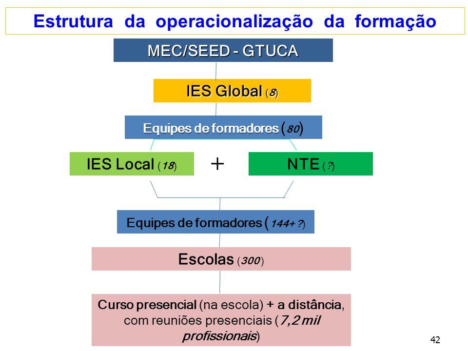 Estrutura da operacionalização da formação MEC/SEED - GTUCA IES Global (8) IES Local (18) NTE (?) + Equipes de formadores ( 144+ ?) Curso presencial (