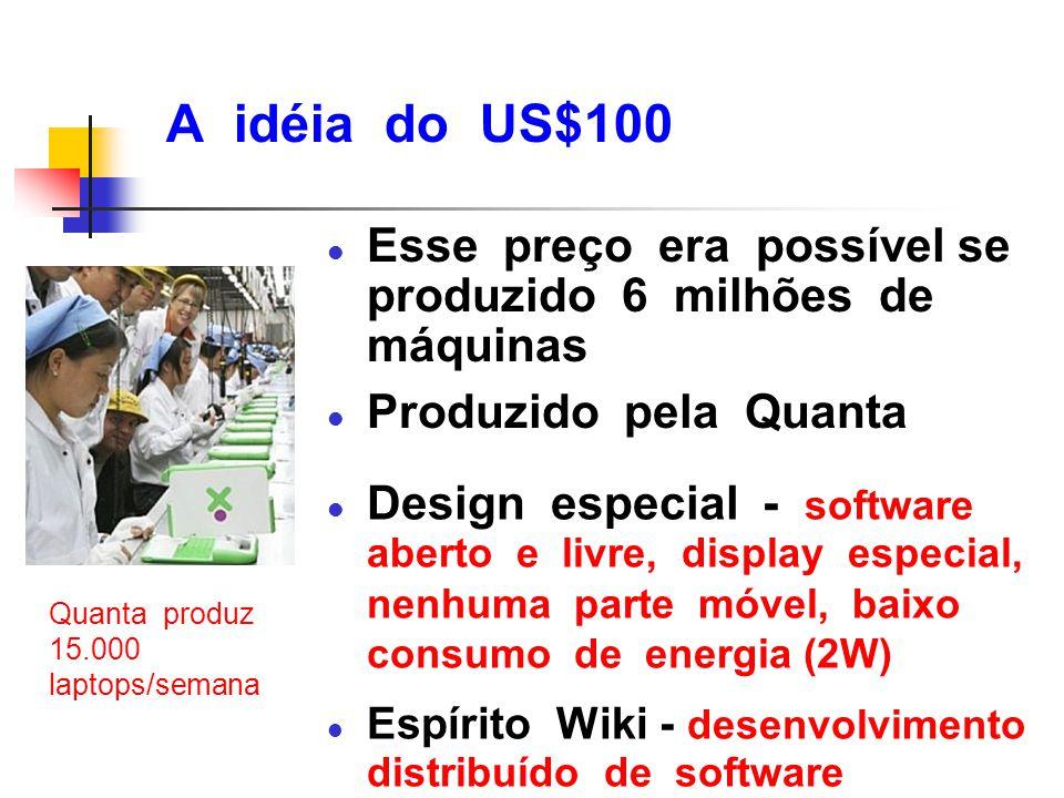 A idéia do US$100 l Esse preço era possível se produzido 6 milhões de máquinas l Produzido pela Quanta l Design especial - software aberto e livre, di