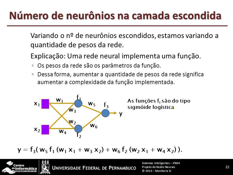 Variação Aspectos que serão variados neste projeto:  Nº de neurônios escondidos (serão usados 3 valores);  A taxa de aprendizado a ser utilizada (se