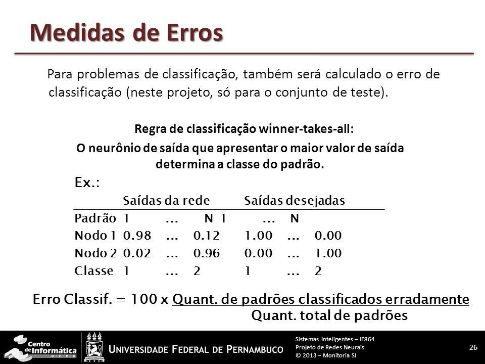 Medidas de Erros Para ambos os tipos de problema, será usado o erro SSE (sum squared error - soma dos erros quadráticos). Ex.: Saídas da redeSaídas de