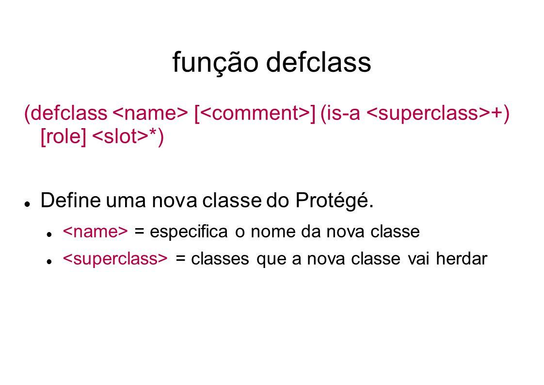 função defclass (defclass [ ] (is-a +) [role] *) Define uma nova classe do Protégé.
