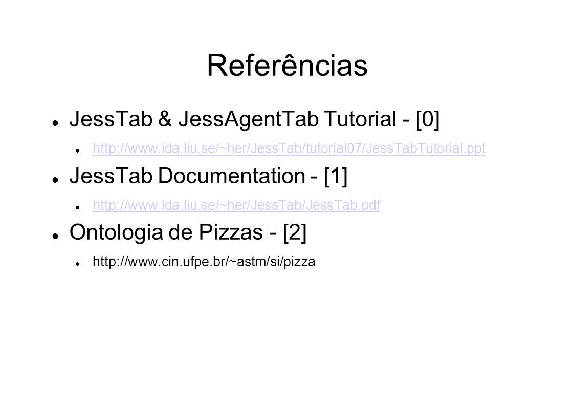 Referências JessTab & JessAgentTab Tutorial - [0] http://www.ida.liu.se/~her/JessTab/tutorial07/JessTabTutorial.ppt JessTab Documentation - [1] http://www.ida.liu.se/~her/JessTab/JessTab.pdf Ontologia de Pizzas - [2] http://www.cin.ufpe.br/~astm/si/pizza