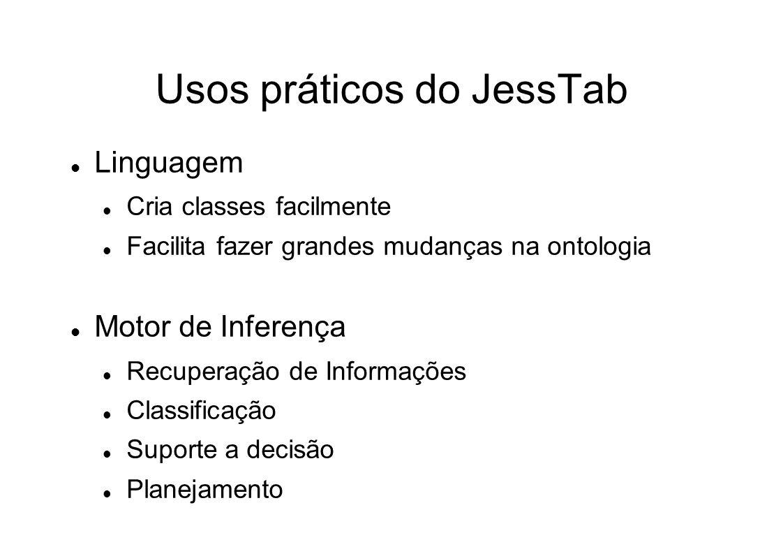 Usos práticos do JessTab Linguagem Cria classes facilmente Facilita fazer grandes mudanças na ontologia Motor de Inferença Recuperação de Informações Classificação Suporte a decisão Planejamento