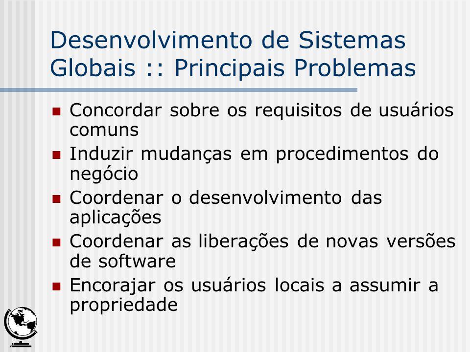 Desenvolvimento de Sistemas Globais :: Principais Problemas Concordar sobre os requisitos de usuários comuns Induzir mudanças em procedimentos do negó