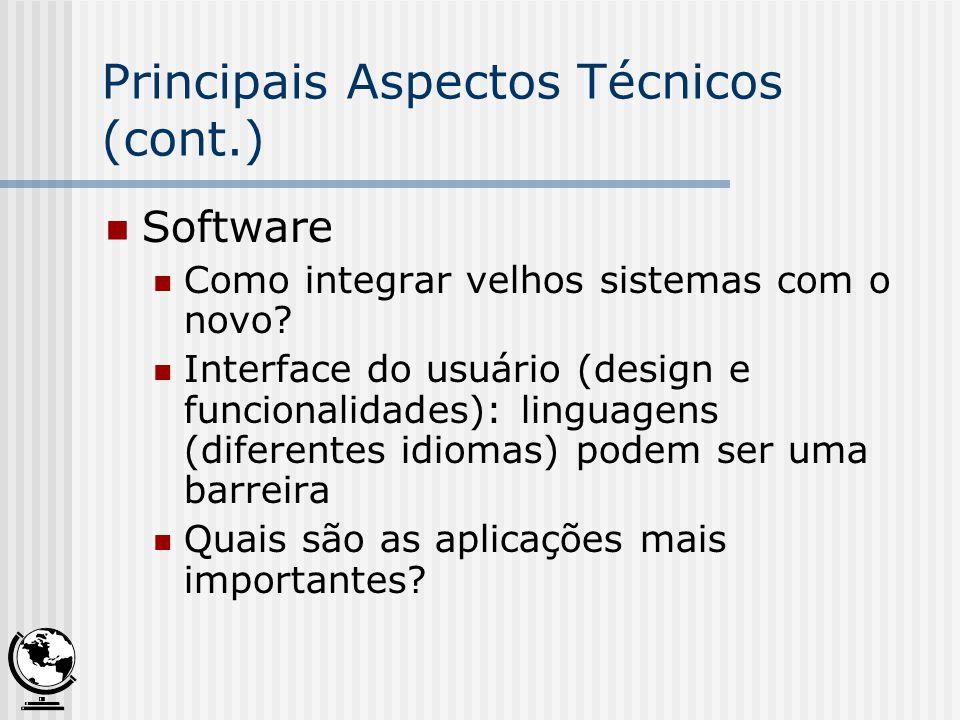 Principais Aspectos Técnicos (cont.) Software Como integrar velhos sistemas com o novo? Interface do usuário (design e funcionalidades): linguagens (d