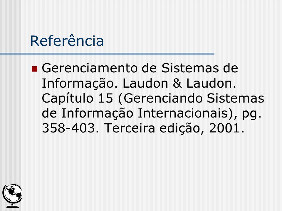 Referência Gerenciamento de Sistemas de Informação. Laudon & Laudon. Capítulo 15 (Gerenciando Sistemas de Informação Internacionais), pg. 358-403. Ter