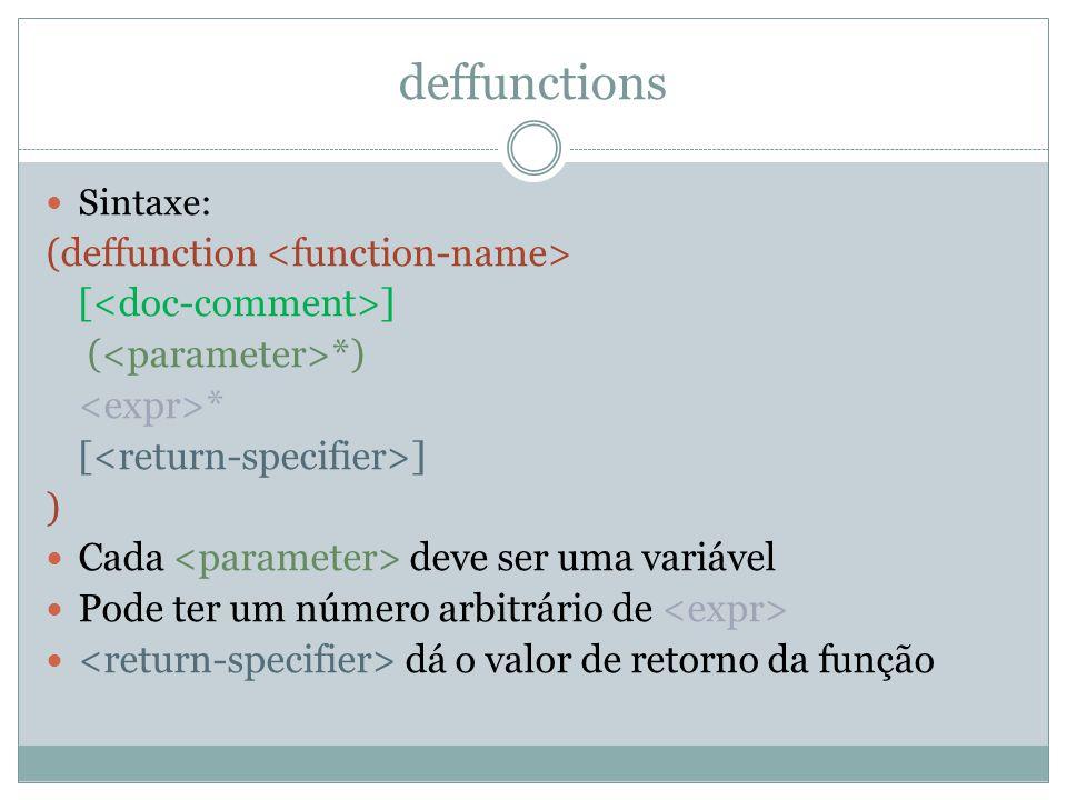 deffunctions Sintaxe: (deffunction [ ] ( *) * [ ] ) Cada deve ser uma variável Pode ter um número arbitrário de dá o valor de retorno da função