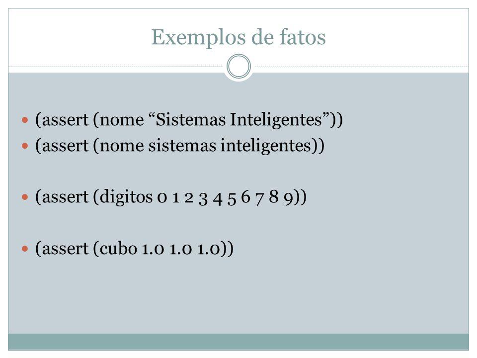 """Exemplos de fatos (assert (nome """"Sistemas Inteligentes"""")) (assert (nome sistemas inteligentes)) (assert (digitos 0 1 2 3 4 5 6 7 8 9)) (assert (cubo 1"""