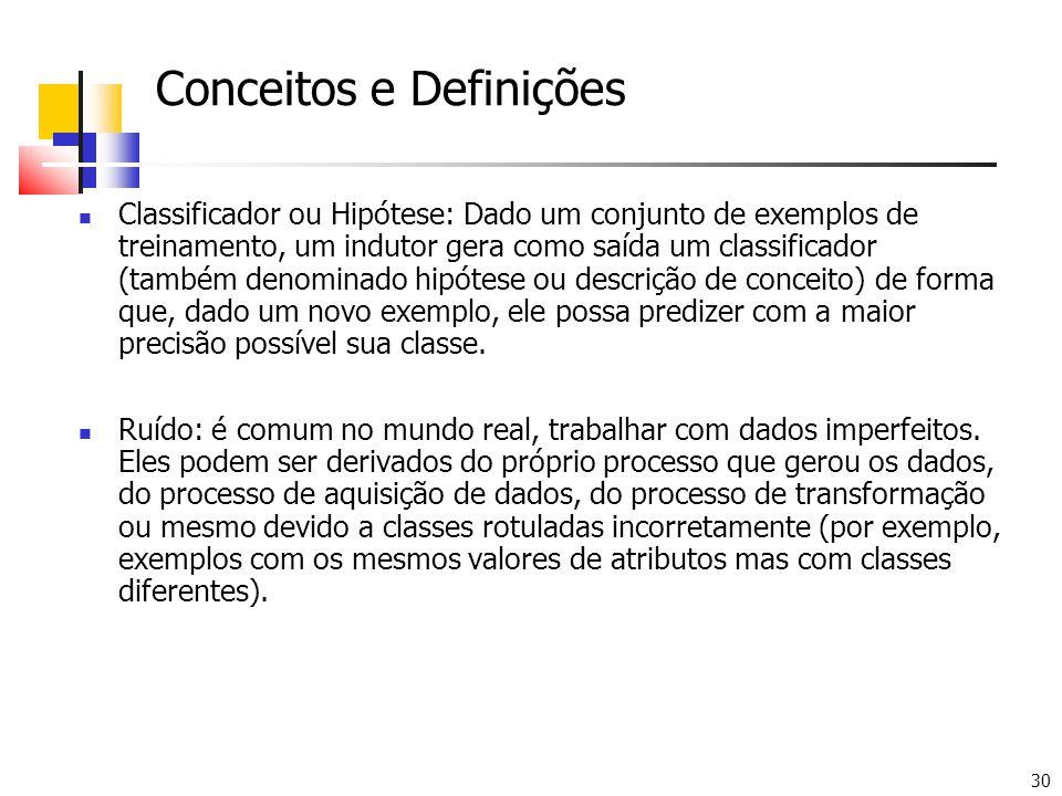 30 Conceitos e Definições Classificador ou Hipótese: Dado um conjunto de exemplos de treinamento, um indutor gera como saída um classificador (também