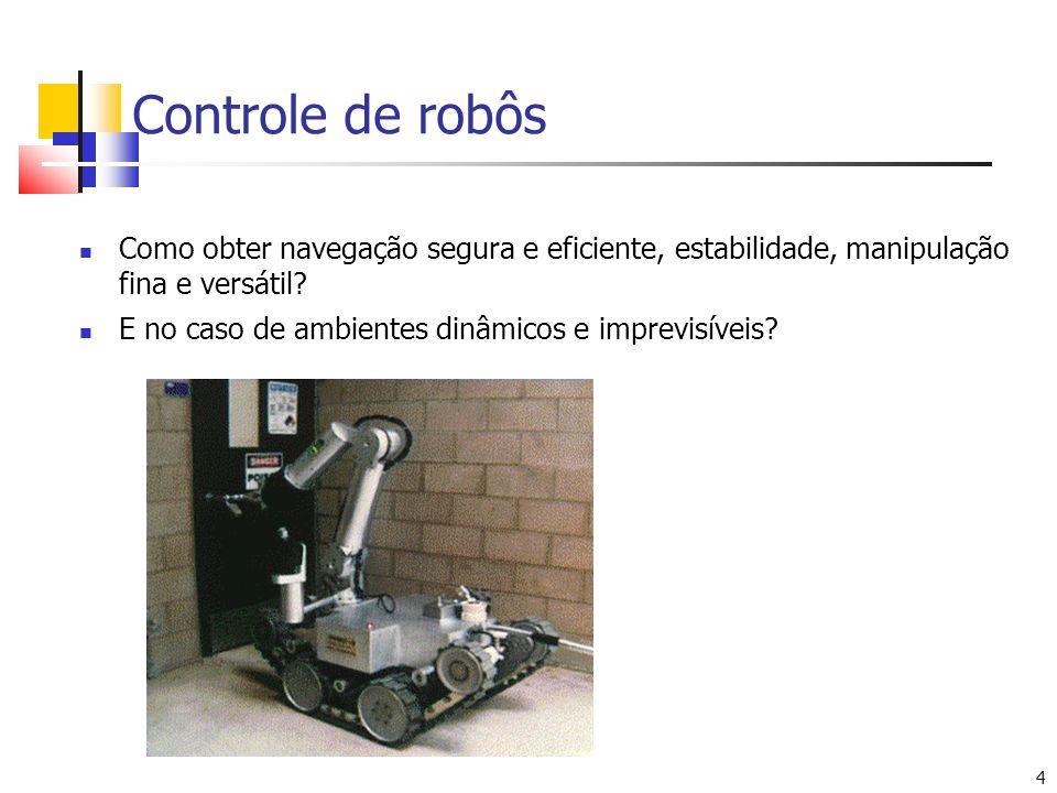 4 4 HAZBOT: ambientes com atmosfera inflamável Controle de robôs Como obter navegação segura e eficiente, estabilidade, manipulação fina e versátil? E