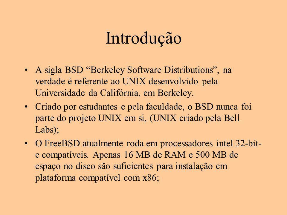 """Introdução A sigla BSD """"Berkeley Software Distributions"""", na verdade é referente ao UNIX desenvolvido pela Universidade da Califórnia, em Berkeley. Cr"""