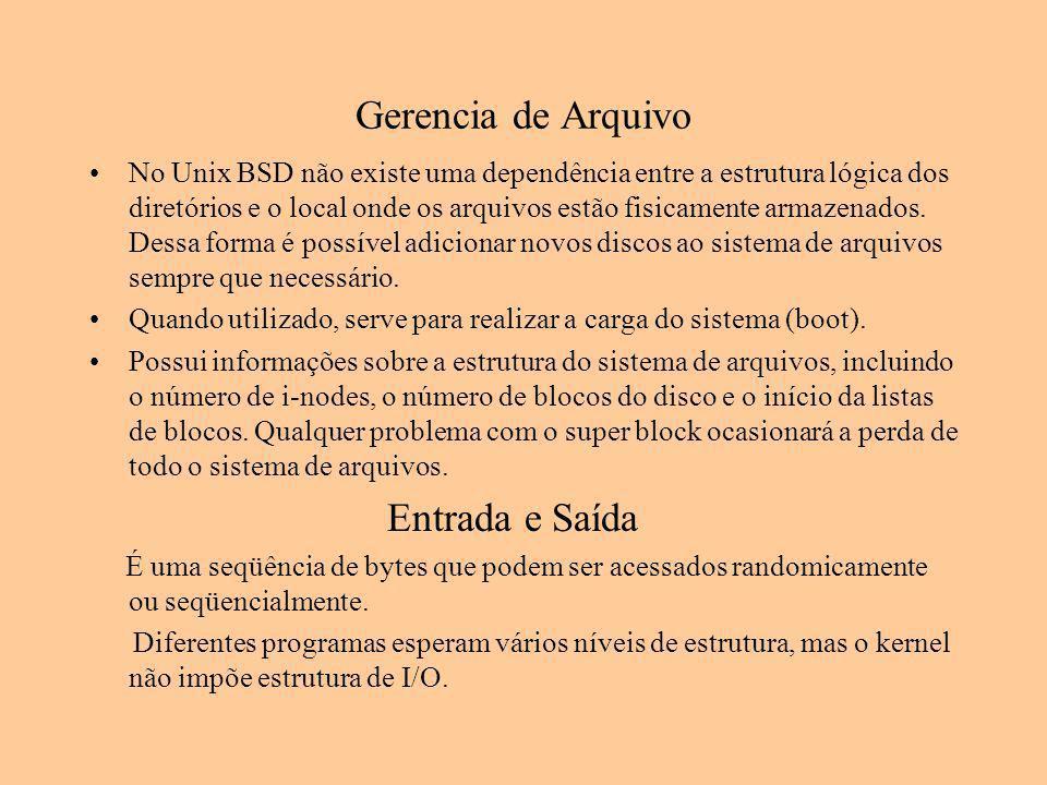 Gerencia de Arquivo No Unix BSD não existe uma dependência entre a estrutura lógica dos diretórios e o local onde os arquivos estão fisicamente armaze