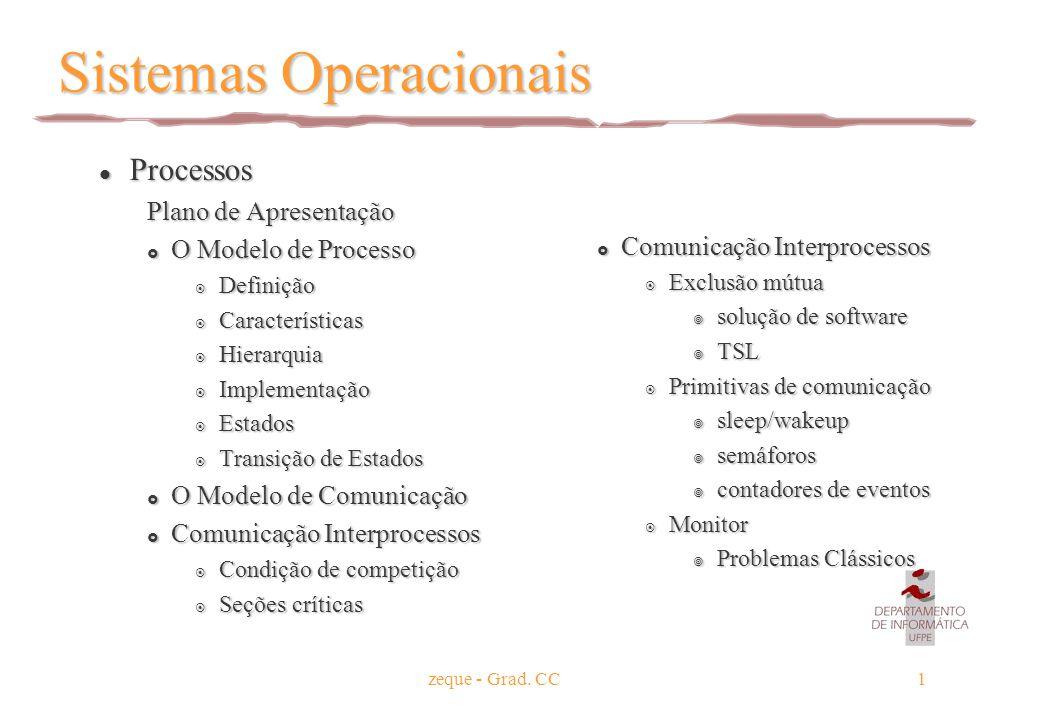 zeque - Grad. CC1 Sistemas Operacionais l Processos Plano de Apresentação  O Modelo de Processo  Definição  Características  Hierarquia  Implemen