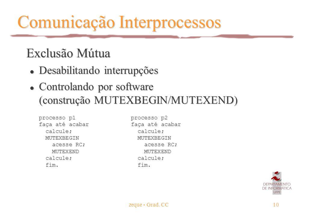 zeque - Grad. CC10 Comunicação Interprocessos Exclusão Mútua Exclusão Mútua l Desabilitando interrupções l Controlando por software (construção MUTEXB