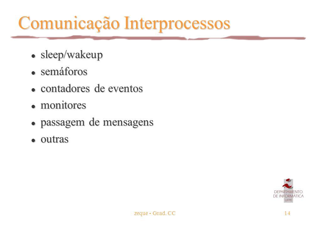 zeque - Grad. CC14 Comunicação Interprocessos l sleep/wakeup l semáforos l contadores de eventos l monitores l passagem de mensagens l outras