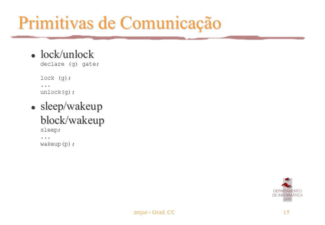 zeque - Grad. CC15 Primitivas de Comunicação lock/unlock declare (g) gate; lock (g);... unlock(g); lock/unlock declare (g) gate; lock (g);... unlock(g
