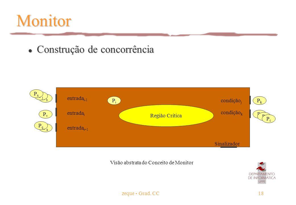 zeque - Grad. CC18 Monitor l Construção de concorrência Região Crítica condição j condição k Sinalizador PiPi entrada i Visão abstrata do Conceito de
