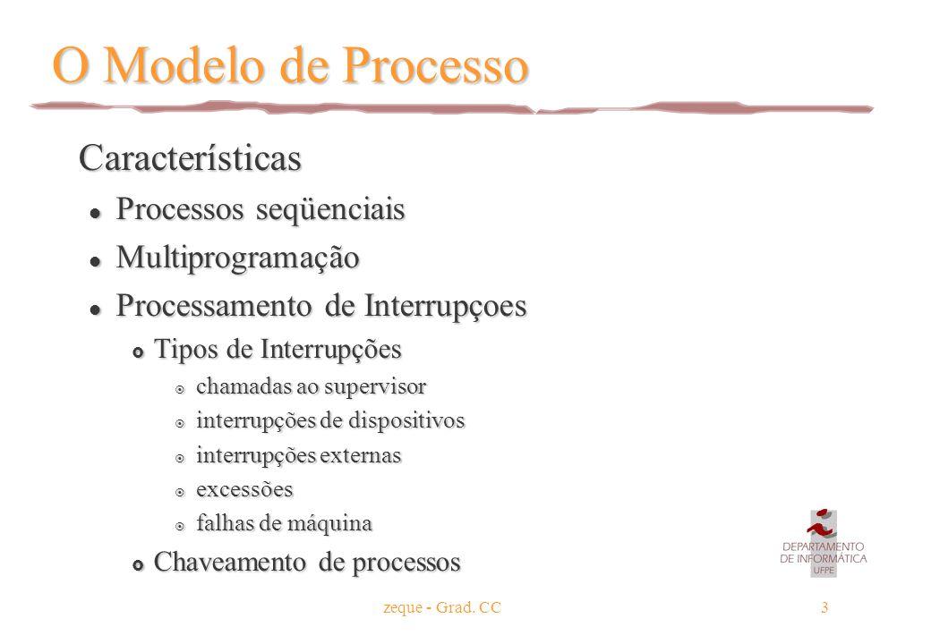 zeque - Grad. CC3 O Modelo de Processo Características Características l Processos seqüenciais l Multiprogramação l Processamento de Interrupçoes  Ti