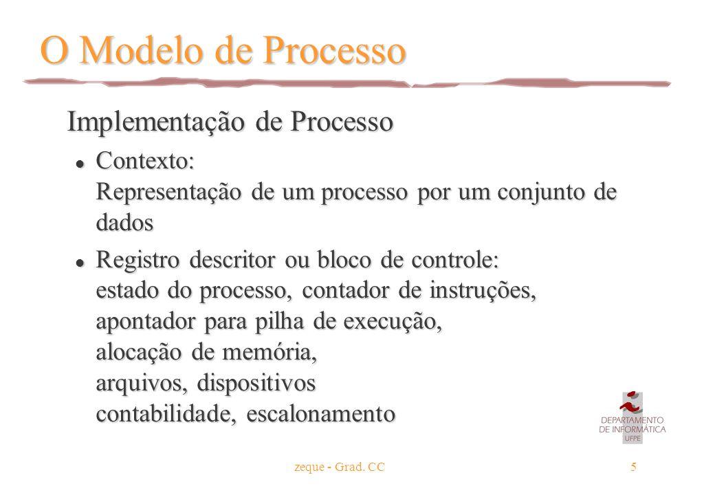 zeque - Grad. CC5 O Modelo de Processo Implementação de Processo Implementação de Processo l Contexto: Representação de um processo por um conjunto de