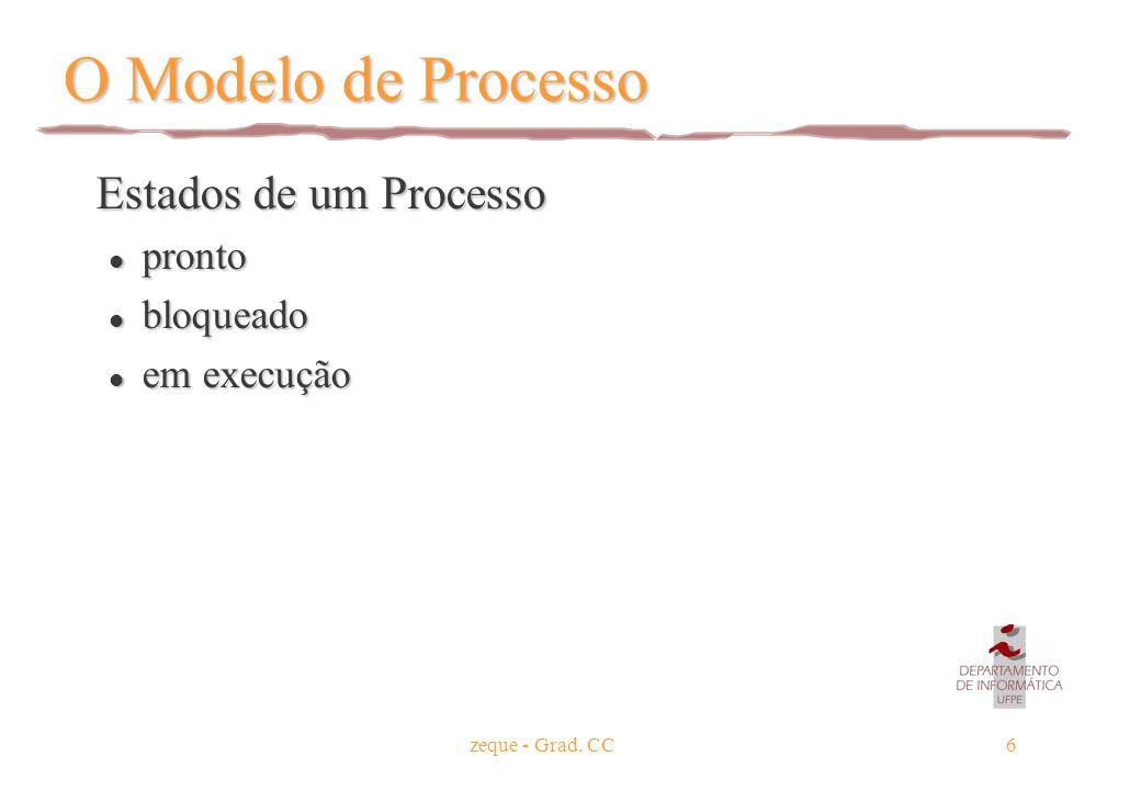 zeque - Grad. CC6 O Modelo de Processo Estados de um Processo Estados de um Processo l pronto l bloqueado l em execução