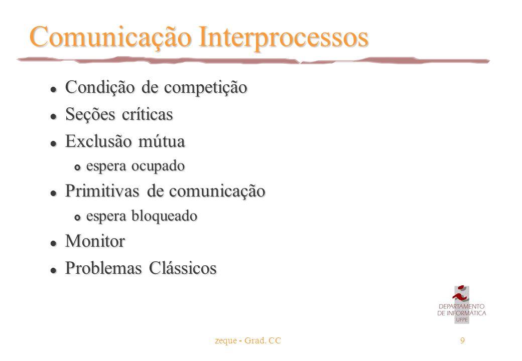 zeque - Grad. CC9 Comunicação Interprocessos l Condição de competição l Seções críticas l Exclusão mútua  espera ocupado l Primitivas de comunicação