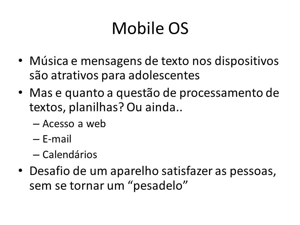 Mobile OS Música e mensagens de texto nos dispositivos são atrativos para adolescentes Mas e quanto a questão de processamento de textos, planilhas.