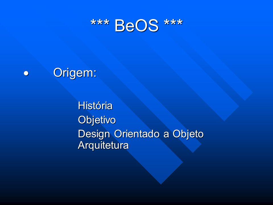 *** BeOS ***  Origem: HistóriaObjetivo Design Orientado a Objeto Arquitetura