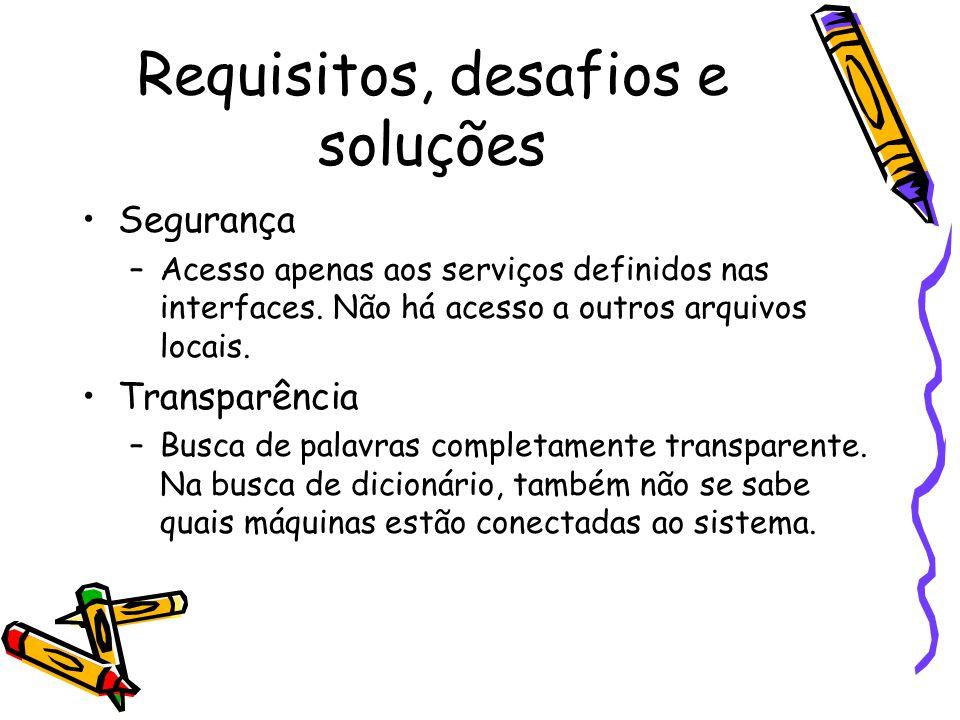 Requisitos, desafios e soluções Segurança –Acesso apenas aos serviços definidos nas interfaces.