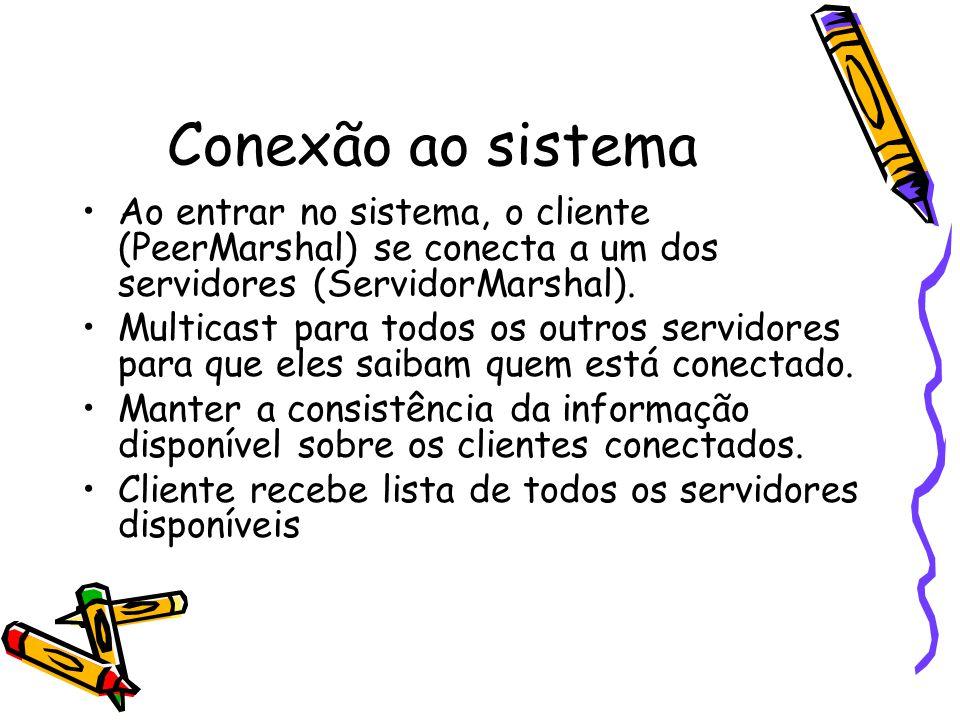 Conexão ao sistema Ao entrar no sistema, o cliente (PeerMarshal) se conecta a um dos servidores (ServidorMarshal).