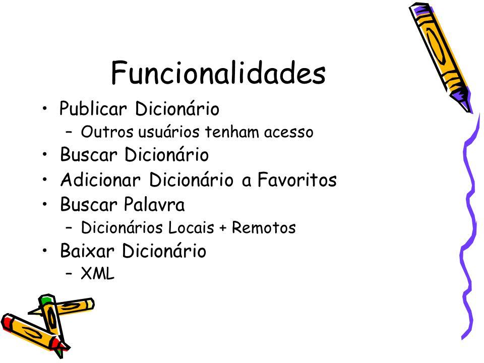 Funcionalidades Publicar Dicionário –Outros usuários tenham acesso Buscar Dicionário Adicionar Dicionário a Favoritos Buscar Palavra –Dicionários Locais + Remotos Baixar Dicionário –XML