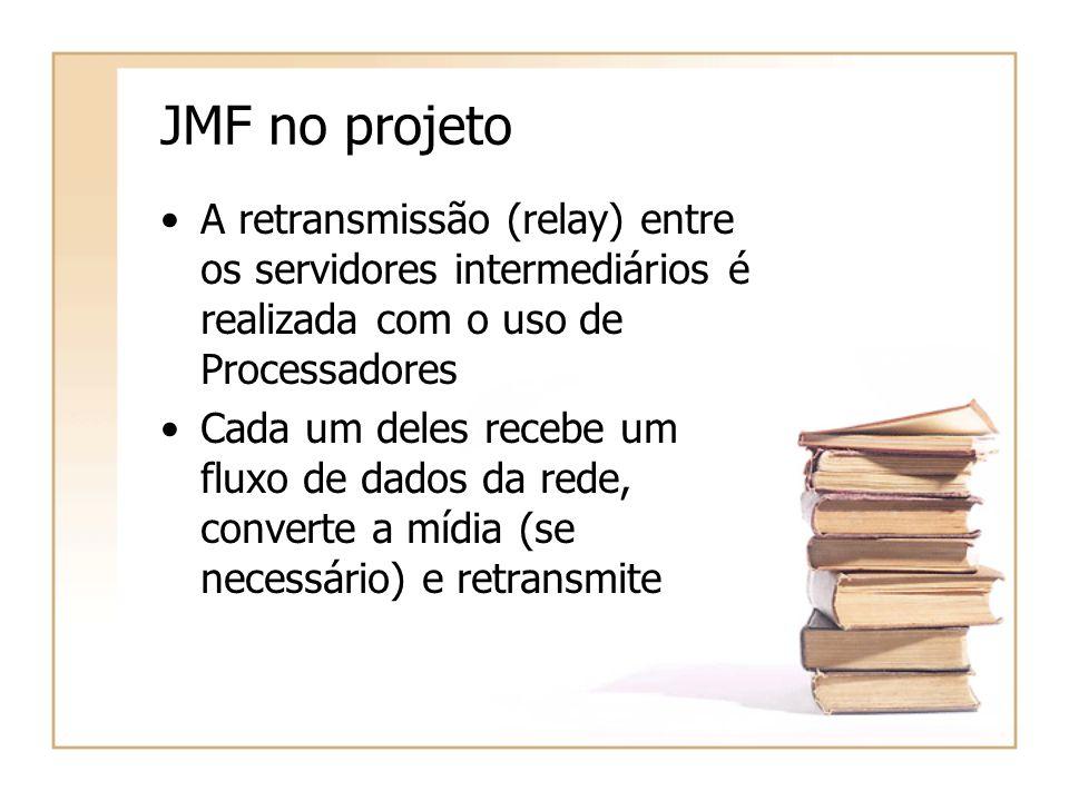 JMF no projeto A retransmissão (relay) entre os servidores intermediários é realizada com o uso de Processadores Cada um deles recebe um fluxo de dados da rede, converte a mídia (se necessário) e retransmite