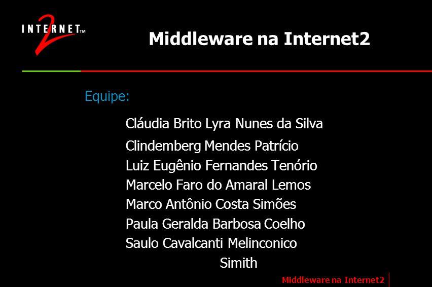 Middleware na Internet2 Equipe: Cláudia Brito Lyra Nunes da Silva Clindemberg Mendes Patrício Luiz Eugênio Fernandes Tenório Marcelo Faro do Amaral Le