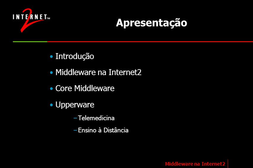 Internet2 (1/2) Definição –Internet para fins acadêmicos, governamentais e de pesquisa Objetivo –Dar suporte a aplicações de ensino, aprendizado e pesquisa colaborativa Diferenças em relação a Internet –IPv6 (128bits) –QoS –Maior velocidade de acesso