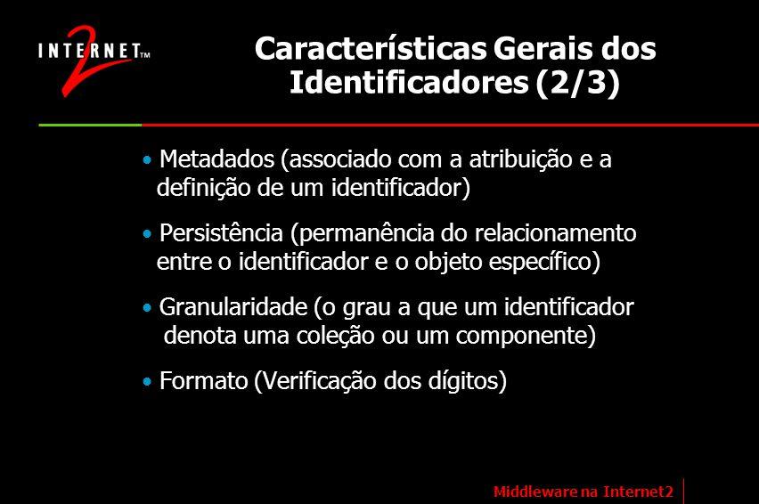 Características Gerais dos Identificadores (2/3) Metadados (associado com a atribuição e a definição de um identificador) Persistência (permanência do