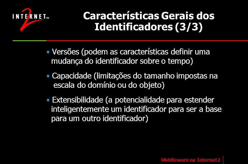 Características Gerais dos Identificadores (3/3) Versões (podem as características definir uma mudança do identificador sobre o tempo) Capacidade (lim