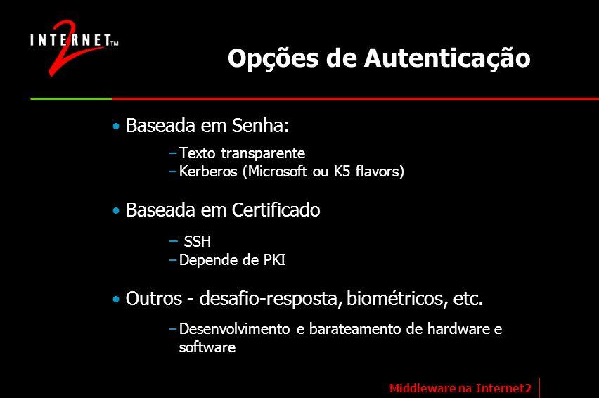 Op ções de Autenticação Baseada em Senha: –Texto transparente –Kerberos (Microsoft ou K5 flavors) Baseada em Certificado – SSH –Depende de PKI Outros