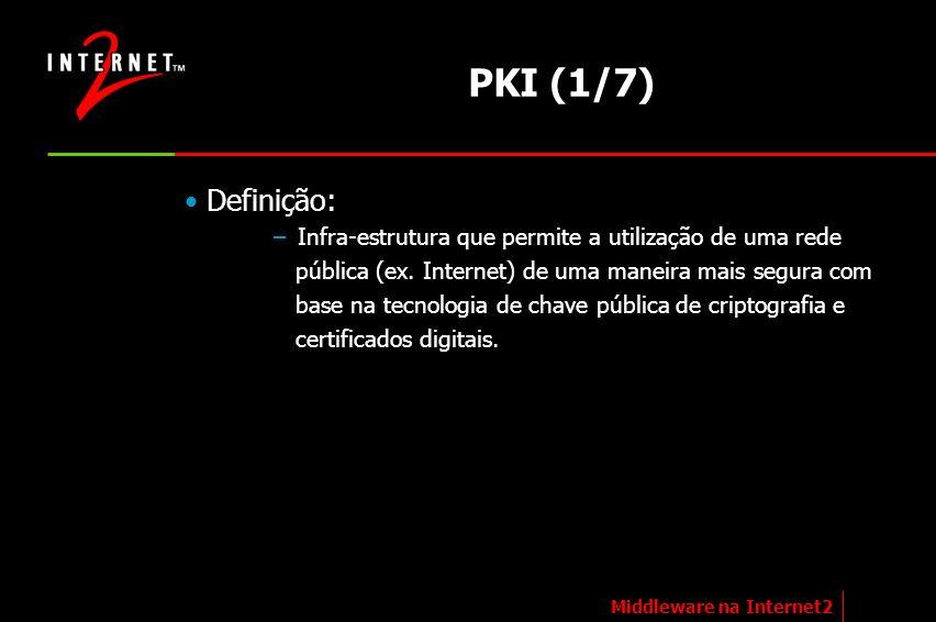 PKI (1/7) Definição: – Infra-estrutura que permite a utilização de uma rede pública (ex. Internet) de uma maneira mais segura com base na tecnologia d